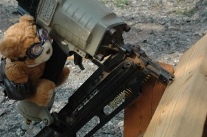 Mr. T on the pneumatic nailer.