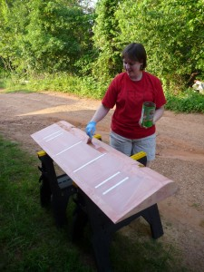 Tabitha Prepares the left aileron for taping