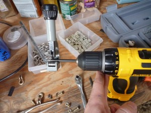 Using the drill with the pipe cutter
